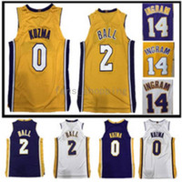 17/18 New Men's Los Angeles # 2 Lonzo Ball 0 Kyle Kuzma Home viola nero Cuciture blu bianche gialle