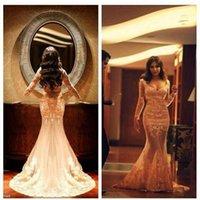Wholesale One Shoulder Dress Transparent - Elegant Prom Dresses Illusion V Neck Lace Appliques Mermaid Long Sleeve Transparent Court Train Wedding Evening Dresses