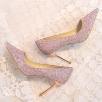 Chaussures de mariage brillant 8 cm talons hauts Top Quality Gold Sliver Pink Champagne Full Squined chaussures pour femmes