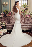 Wholesale Cleaning Sexy - simple clean elegant keyhole back mermaid wedding dresses 2017 mikaella bridal sleeveless halter beck deep plunging v neck chapel train