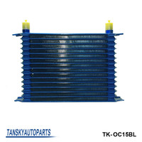 Wholesale oil cooler row - 15 rows 50mm thick aluminium universal TRUST TYPE oil cooler For Universal With No Logo have in stock TK-OC15BL