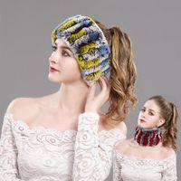 frauen pelz schals großhandel-Zwei Möglichkeiten Real Rex Rabbit Fur Hat (Schal) Damen Winter Warm Hand Knit Beanie Neck Wraps