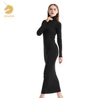 uzun örme kışlık elbiseler toptan satış-Bayan Kış Kaşmir Kazak Auntmun Kadınlar Örme Kazaklar Yüksek Kalite Uzun Kadın Trutleneck Ayak Bileği Uzunlukta Uzun Kazak Elbise