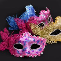 Wholesale Gold Butterfly For Decoration - 4 Colors Butterfly Venice Beauty Mask Half Face Masquerade Party Cosplay Decoration Sexy Princess Women Mask Halloween Gift Favors 12pcs lot