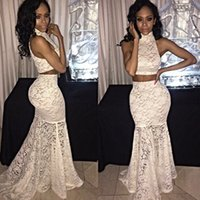 Wholesale Turtle Neck Lace Mermaid Dress - 2016 Hot New White Lace Two Pieces Prom Dresses Fashion High Neck Sleeve Mermaid Evening Dresses Real Image Special Occasion Dresses