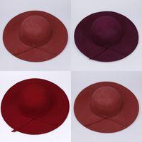 Wholesale Wholesale Woman Dress Wool Hats - Women Soft Floppy Wide Brim Cloche Fedora Dress Hat Retro Goth Wool Bowknot Band Colors Choose DII*3