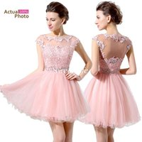 Wholesale One Piece Girls Classic - Under $100 Cheap Pink Short Prom Dresses Lace Beaded Cap Sleeves Illusion Bateau Neck Mini Tulle Sexy Girls Homecoming Party Cocktail Dress