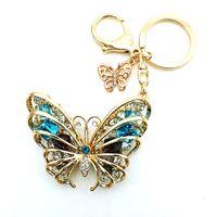 ingrosso portachiavi farfalle-Portachiavi di moda di alta qualità placcatura oro piercing di cristallo farfalla animali aragosta fibbia in metallo portachiavi gioielli borsa