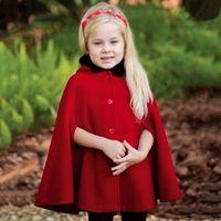 Wholesale Children S Winter Capes - Xmas red poncho big girls woolen princess shawl coat winter child BOWS fleece hooded warm outwear christmas women velvet cloak capes R0578