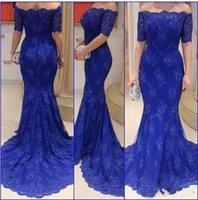 ingrosso madre blu fuori abiti da sposa-Elegante Royal Blue sera convenzionale partito dei vestiti 2016 fuori dalla spalla mezza merletto del manicotto appliqued promenade vestido Longo madre della sposa abiti