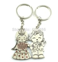 Wholesale Wholesale Bride Groom Keychain - Fashion Creative Bride And Groom Couple Keychain lover key chain Wedding Gifts Free shipping 200pcs lot(100pairs)Wholesale T