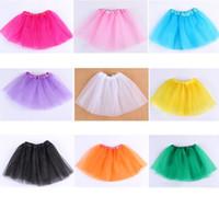 pettiskirt elbiseler yılbaşı toptan satış-15 Renkler Bebek Kız Şeker renk noel Pileli Tutu Etekler Çocuk Balo Bale Dans Elbiseler Pettiskirt Giyim çocuk giysileri