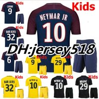 Wholesale Boys Kids T Shirts - 17 18 kids NEYMAR JR shirt AURIER T SILVA CAVANI DI MARIA PASTORE Verratti 2017 2018 child jersey football LUCAS Children soccer jerseys