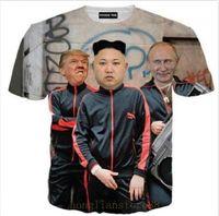 Wholesale T Shirt Women Donald - New Fashion Summer Men Women Putin Donald Trump and Kim Jong Un Full Harajuku Style Funny 3d Print Casual T-shirt H200