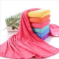 Wholesale Pink Bath Accessories - Pink color bath towels solid super fiber towel plus size bathroom accessories home textiles for adult kids 70*140cm 6 Colors YW247