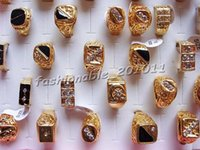 Wholesale Invisible Set Cz Rings - Rings Ring CZ Rhinestone Gold Plated Men Mixed lots Jewelry Wholesale 20pcs Lots Free ship