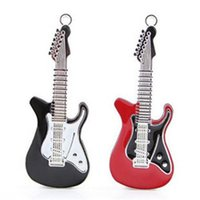 Wholesale Guitar Flash Memory - 2015 Rock and roll electric guitar shape 16GB 32GB 64GB USB Flash Drive music pen drive metal pendrives memory stick DHL ship