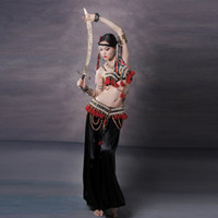 Wholesale Tribal Dance Set Costume - 2016 Belly Dance Costume Set 3PCS Bra&Waist&Pants Women Embroidery Tribal Bellydance Professional Lady Dance Wear Indian Sari