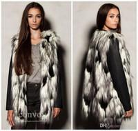Wholesale Womens Fur Lined Winter Coats - New Womens Faux Fox Fur Vest Winter Warm long Hair Lining Jacket Waistcoat Sleeveless Contrast Colors Outwear Coat Free Shipping WT156