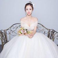 Wholesale Tube Top Slim Wedding Dress - Wedding dress 2017 new word shoulder thin Slim large size sexy Tube Top Pompon wedding dress,can make a large wedding dress