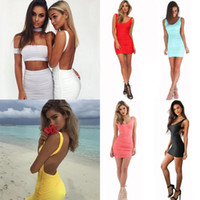 bodycon üniforma elbiseleri toptan satış-Yeni Kadın Ünlü Bodycon Elbise Yaz Casual Elbiseler Backless Kolsuz Kokteyl Prom Dress Seksi Mini Gece Klüp Dress DZG1102