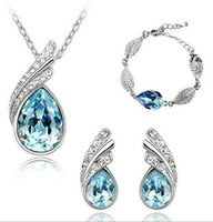 Wholesale Crystal Necklace Jewelry Kits - Wedding Jewelry Kits For Bride Heart Love Pendant Necklaces + Dangle Earring Bracelets Bangles Jewellery Set colar e brinco 4187