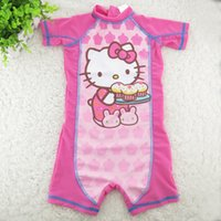 Wholesale Girls Uv Suit - Wholesale- Swimsuit for girls Summer Brand Kids one-pieces princess Swimwear for children kitty Pattern kid Girl Bathing Suit uv protect