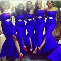 Wholesale African Red Coral Beads - African Royal Blue Mermaid Bridesmaid Dresses 2017 Front Split Satin Floor Length Custom made Evening Formal Wear Long Maid Of Honor Gown