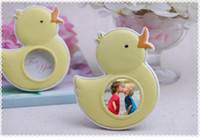 Wholesale Wholesale Photo Frames Favors - 100pcs Baby Souvenirs of My Little Duckling Baby Duck Photo Frame For Kids Birthday Party Decoration Gift And Favors