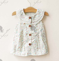 Wholesale Girls Sarong Dress - The cheapest ! !Children Clothing Girls Dress Floral Lace Fresh Cotton Sarong Dress Children Sleeveless Vest Dress