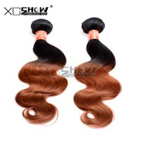 Wholesale Affordable Peruvian Body Wave Hair - Affordable 100% Virgin Human Hair Extensions Ombre Brazilian Body Wave Hair Weave Two Tone Malaysian Indian Remy hair Weft Epacket Free Ship