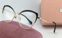 metal çerçeveler takılar toptan satış-Yeni popüler tarzı 54 p moda tasarımcısı optik gözlük yarım çerçeve büyüleyici kedi gözü metal renk çerçeve için En kaliteli avant-garde tarzı bayan