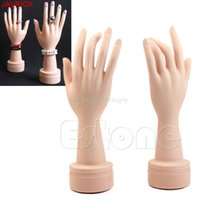 Wholesale Nail Art Watch - 2Pcs Flexible Soft Fake Hand Model Nail Art Ring Watch Bracelet Display Stand #H058#