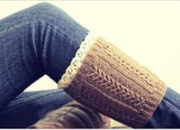 botas de salto de renda venda por atacado-20 pares / lote Inverno de Natal Curto Rendas Polainas Bota de Malha Crochet Knee Leg Warmers Boot Cuffs Bota Toppers para As Mulheres Meias de Inicialização K6089