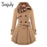 e964c63ec055 All ingrosso-Sisjuly donne autunno inverno trench cappotto di lana cappotto  doppio petto manica lunga rosso sottile donna khaki trench coat