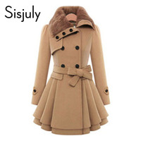Wholesale woolen winter coat womens - Wholesale- Sisjuly women winter autumn trench coat brand woolen coat double breasted long sleeve belt red slim womens khaki trench coat