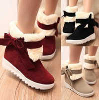 Wholesale Shoes Ladies Colour - Womens Snow Boots Faux Fur Womens Ankle Boots Bowtie Cleated Casual Ladies Warm Outdoor Boots Shoes cotton boots 3 Colours Free Shipping