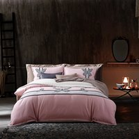 Fresh Cute Butterfly Pink Queen King Size 4Pcs Bedding Set Bordado Técnicas Sanding Cotton Bedlinens Duvet Cover Sets
