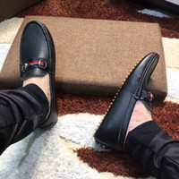 Wholesale Mens Luxury Chain - Luxury Fashion Mens Gommino Dress Casual Party Loafers Shoes Cowskin Single Shoe Slip On Wedding Pumps Black Size38-46