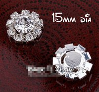 Wholesale Metal Flower Embellishments Wholesale - 5%off (120pcs lot)15MM FACTORY PRICE Elegant Artificial Sparkle Round Flower Metal Rhinestone Button For Baby Girl Hair Embellishment