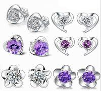 pendientes de plata de ley 925 con corazones al por mayor-925 Sterling Silver Jewelry Stud Pendientes con circón en forma de corazón Blossom Earings Studs Fashion Jewellry para la orden de la mezcla de la venta