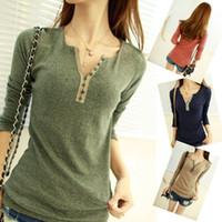 Wholesale Khaki Shirts For Women - 2014 hot selling brand new women's tops tee long sleeve t shirt autumn underwear shirts for women V-neck knit shirt free size