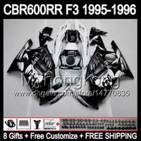 Wholesale 96 Cbr F3 Fairing Kits - 8gifts+ Bodywork Black For HONDA CBR600RR F3 95-96 CBR600F3 CBR600 F3 CBR 600F3 CBR 600 F3 95 96 1995 1996 Graffiti Black white Fairing Kit