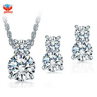conjuntos de pendientes collar de diamantes al por mayor-Realmente 925 Conjuntos de joyería de bodas de plata esterlina para nupcial Sparkling CZ Diamond Necklace y Stud Earrings Jewelry Set ZS001