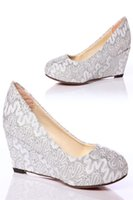 Wholesale Lace Bridal Wedges - Lace Wedding Bridal Shoes High Wedge Heel Faux Leather Wedgies with Lace Glamorous Hote Sale Wedding Shoes
