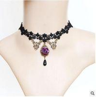 Wholesale Vintage Pearl Collar Necklace - Statement Necklace Gothic Jewelry Lace Necklaces Flower Pendants Vintage Choker Necklace Women Accessories False Collar 0181