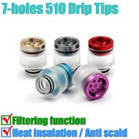 Wholesale Bear Filters - New 7 holes filter Wide Bore Drip Tip Heat insulation Aluminium Acrylic 510 Dripper Tips filtering vapor Mods RBA RDA Atomizers Mouthpiece