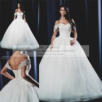 Wholesale Russian Skirts - Designer Saudi Arabic Ball Gown Wedding Dresses 2017 Off Shoulder Puffy Tulle Skirt Plus Size Russian Greek Sequined Beaded Robe De Mariage