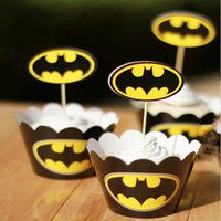 Wholesale Batman Cake Toppers - Classic Batman Wrappers Decorating Boxes Baking Cake Cups With Toppers Picks For Kids Xmas Birthday Party Supplies