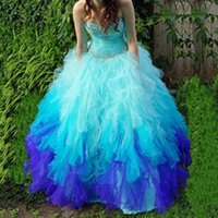 Wholesale Two Tone Ball Gowns - Real Image Two-Tone Beads Crystals Quinceanera Dresses Sweetheart Neck Lace Up Back Sweep Train Tulle Ball Gown Prom Dress